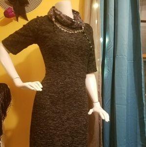 Mena Sparkle Tweed Pencil Dress
